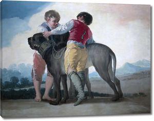 Гойя и Лусиентес Франсиско де. Дети с собаками