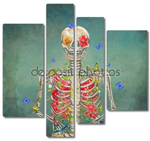 Цветущий скелет на гранжевом фоне с бабочками