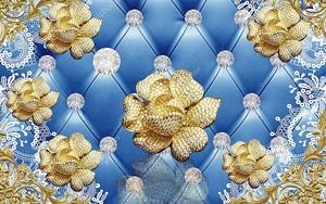 Кожа, большие золотые цветы со стразами