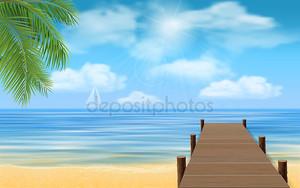 море пляж и деревянный причал