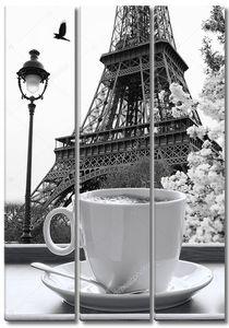 Эйфелева башня с чашкой кофе в черно-белом стиле