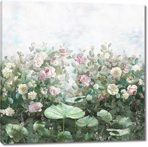 Садовые розы в зеленоватой гамме