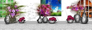 Вазы с цветами на подоконнике
