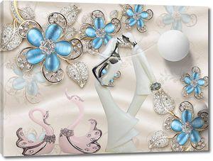 Синие стеклянные цветы с кристаллами на золотых стеблях