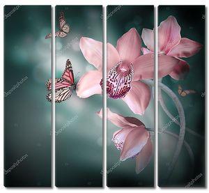 Орхидеи с бабочкой над водой