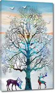 Олени под витвистым деревом