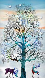 Олени под ветвистым деревом