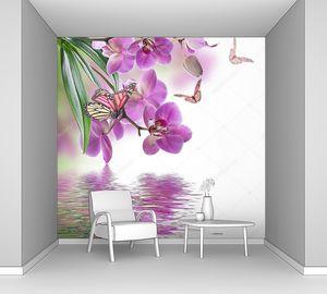 Тропические орхидеи над водой и бабочки