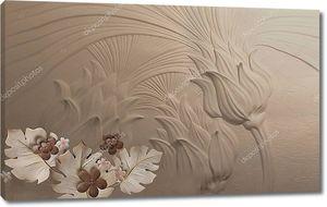 3d иллюстрация, темный тисненый фон, фантастические цветы
