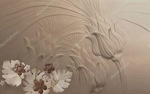 Темный тисненый фон, фантастические цветы