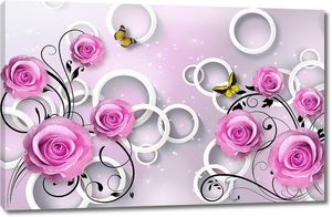 Розы на фоне кругов