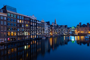 Houses of Amsterdam at night