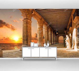 Античная галерея с закатом