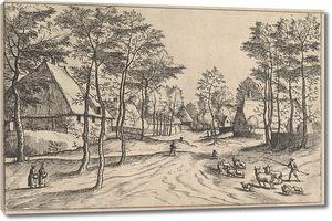 Брейгель. Гравюра. Пейзаж с видом на деревню и дорогу  (офорт)