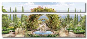 Парк с различными растениями и фонтаном
