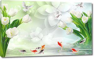 Рыбки и голуби с тюльпанами