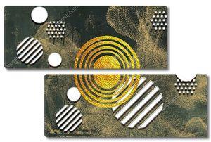 Абстракция из белого и золотого кругов
