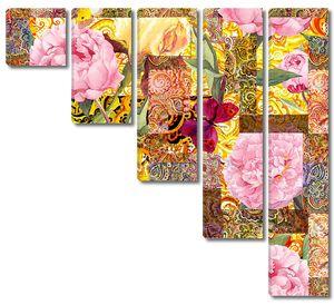 Цветы, бабочек и Золотой индийского орнамента. Акварель бесшовный фон