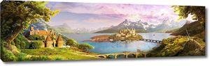 Панорамный вид на лес и замок