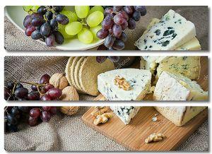 сыр  с красным виноградом, грецкими орехами и крекеры
