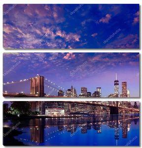 Закат Бруклинского моста Нью-Йорк Манхэттен