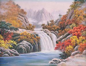 Фреска с водопадом осенью