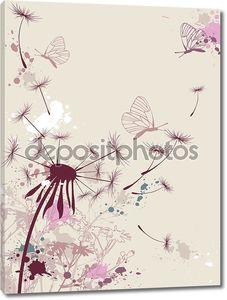 Фон с одуванчиком и бабочками