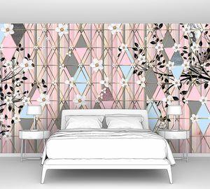 Triangle eden-Цветущие ветки на розовых ромбах