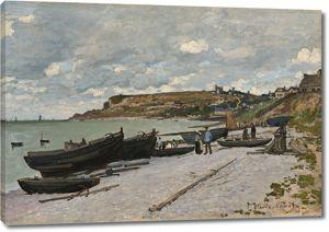 Моне Клод. Сент-Адресс, рыбацкие лодки на берегу, 1867