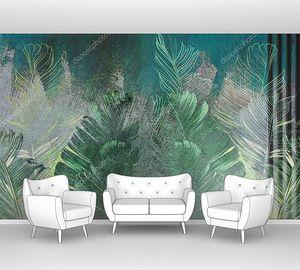 Тропические листья на бетонной гранж-стене