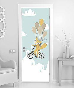 Лиса с шариками на велосипеде