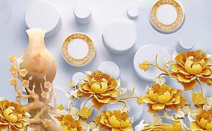 Резная вазочка и золотые розы