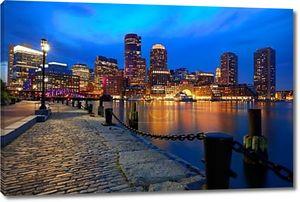 Бостон закат skyline в вентилятор Пирс Массачусетс