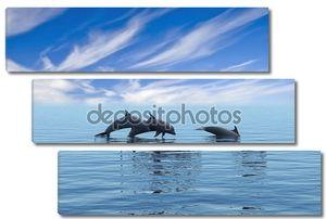 Три дельфина, плавающие в океане.