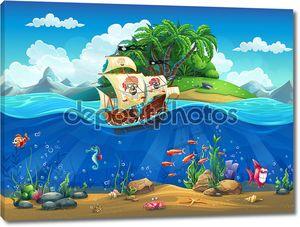 Мультфильм подводный мир с рыб, растений, остров и корабль