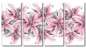Розовые цветы лилий в ряд