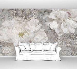 Винтажный фон с узором и цветы