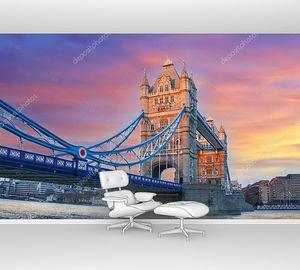 Тауэрский мост вечером, Лондон, Англия, Великобритания