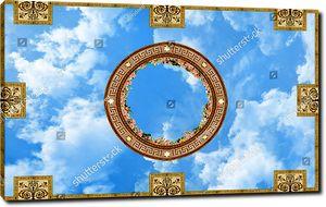 Небо с розами по краям орнамента