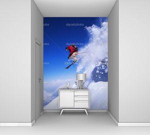 лыжник, подскакивающий