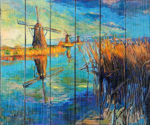 Ветряные мельницы картина маслом