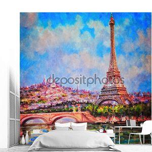 Красочная картина Эйфелеву башню и Сакре-Кер в Париже