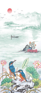 Яркие птицы на берегу реки