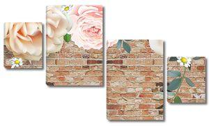Розовые розы на старой кирпичной стене