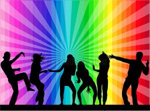 Танцоры на радужном фоне
