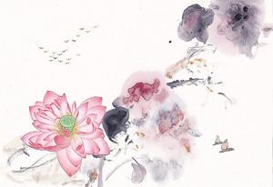 Лотосы акварельными красками