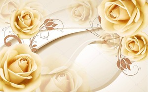 3D бежевый фон с розами