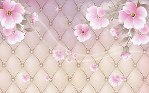 Пастельный фон, обивка, розовые цветы