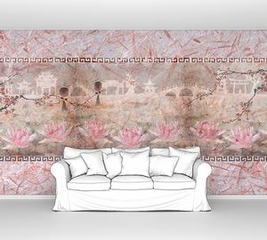 Розовый абстрактный рисунок с цветами и узорами