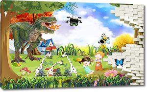 Дети и динозавр в проломе стены